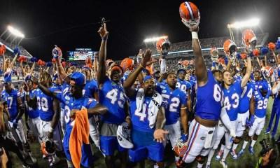 University of Florida football student athletes celebrating