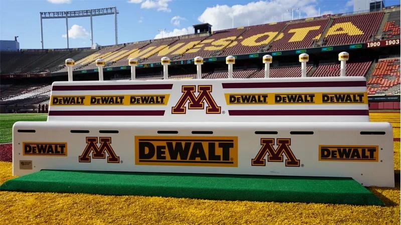 DEWALT sideline branding at Minnesota