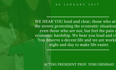 We Feel Pains Caused by Economic Hardship—Osinbajo