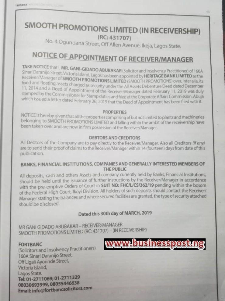 Heritage Bank Takes Over Properties of HipTV Owner Ayo Animashaun