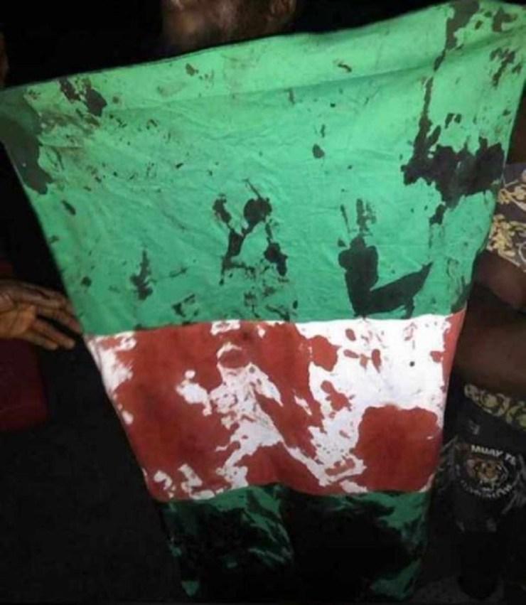 Nigerian Flag Blood Stain