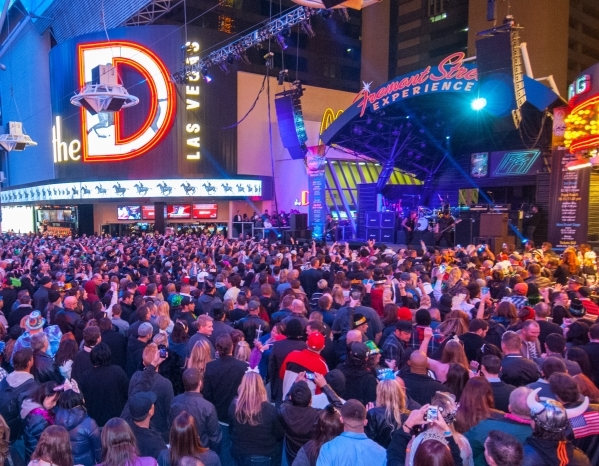 Las Vegas Strip and Freemont Street ready for New Year s Eve 2016     Crowds of revelers enjoy the Fremont Street Experience on New Year s Eve
