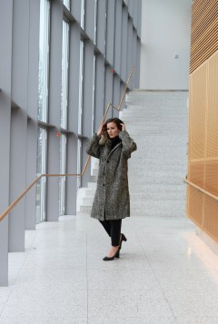 Vintage Burberry Tweed Coat with a Faux Fur Infinite Scarf