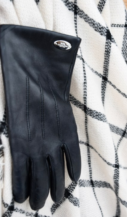 Coach Leather Gloves with Black and White Blanket Scarf