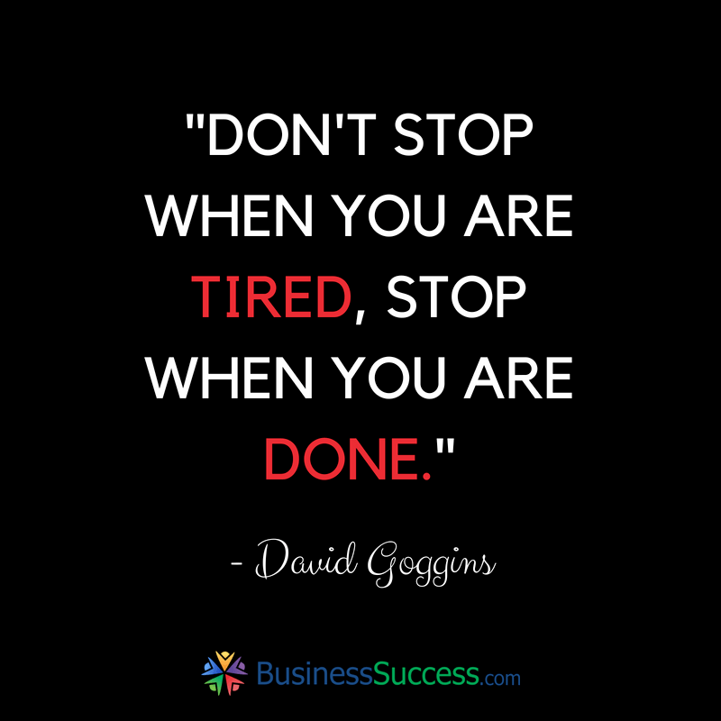 Inspirational image with David Goggins quote about success
