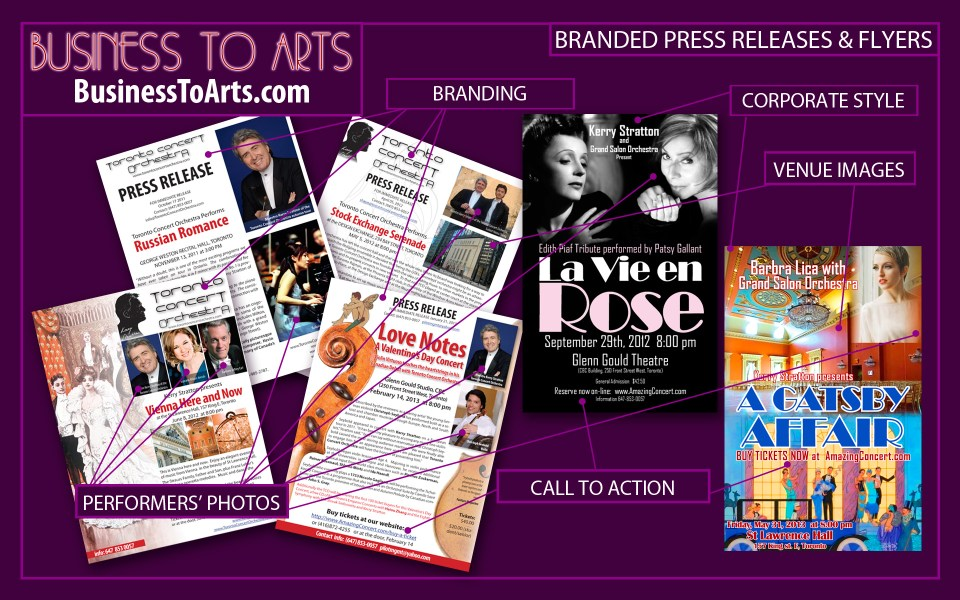 Business toArts - graphic design - Branded Press Releases for the classical concerts