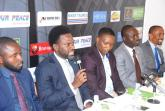 Head, Brand and Marketing Hygin HNO, Mr. Ahmed Adeyanju; Divisional Head, Corporate Communications, Heritage Bank, Mr. Fela Ibidapo; Executive Producer, The Next TITAN, Mr. Mide Kunle-Akinlaja; Corporate Affairs Manager, SIFAX Group, Mr. Olumuyiwa Akande and Corporate Communications Manager, Air Peace Airlines, Mr. Chris Iwarah, during the press conference for the commencement of The Season Five of The Next TITAN.