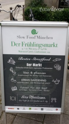 Slow Food Markt Tafel am Eingang