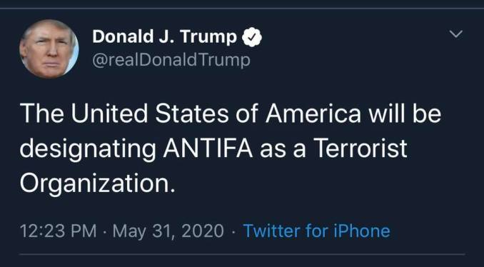 stupid fuck doesn't know ANTIFA is not an organiation