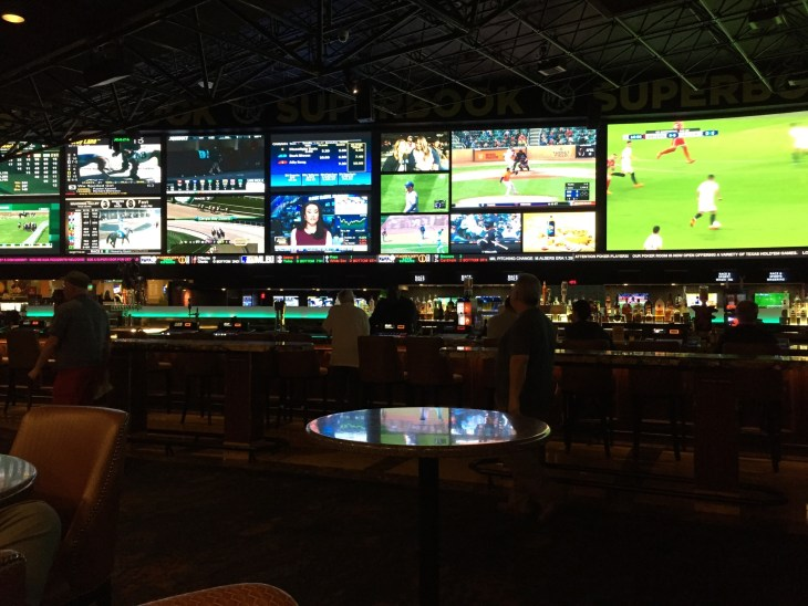 Interior of sports book gambling