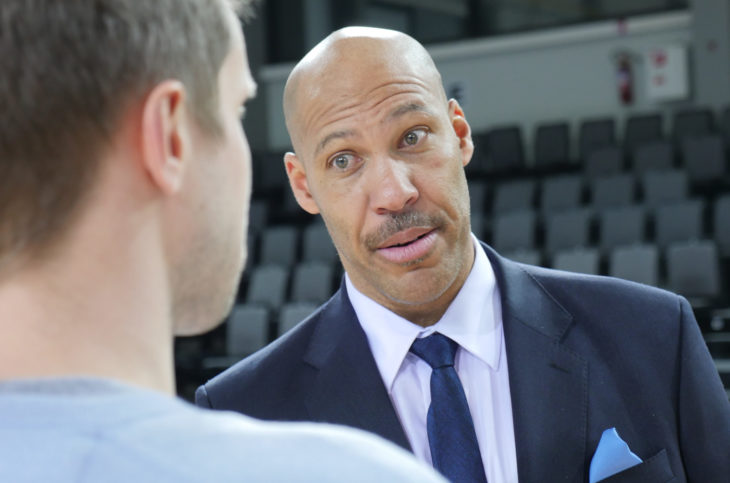 Prienai/Lithuania - 01292018: LaVar Ball answers journalists questions.