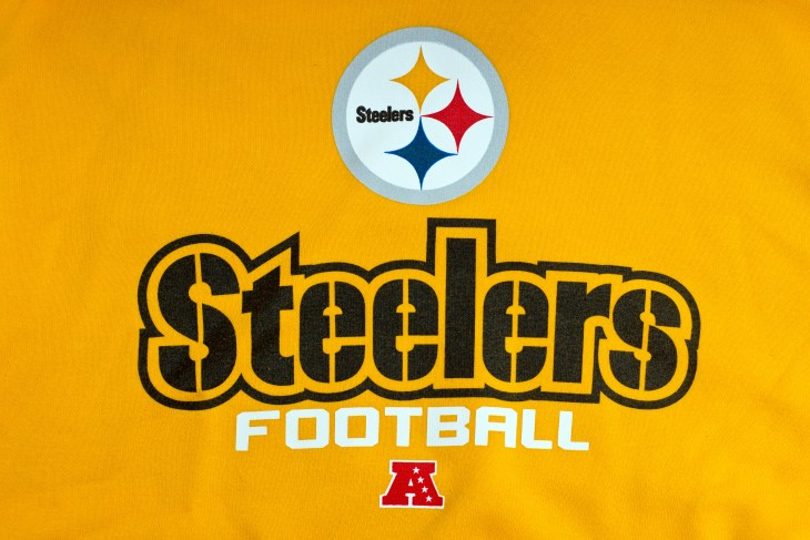 ZAGREB , CROATIA - AUGUST 21 , 2014 : NFL Pittsburgh Steelers club logo printed on textile equipment ,product shot