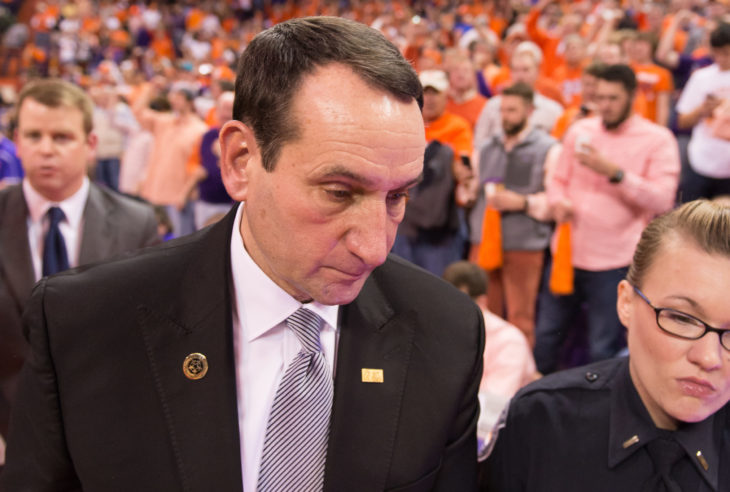 Clemson, SC - January 11, 2014 Duke's coach Krzyzewski leaves the court after a disappointing loss to Clemson