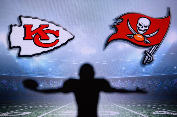 TAMPA BAY, USA, JANUARY, 25. 2021: Super Bowl LV, the 55th Super Bowl 2020, Kansas City Chiefs vs. Tampa Bay Buccaneers. American football match, silhouette of players. NFL Final