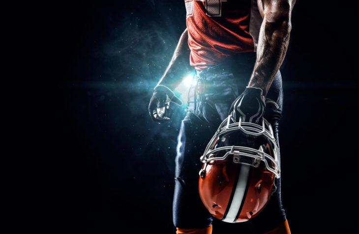 American football sportsman player in stadium