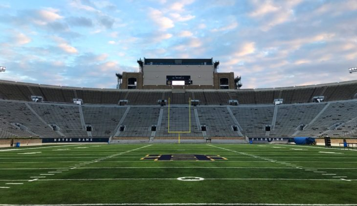 NOTRE DAME, INDIANA - OCTOBER 2016; The field of Notre Dame Stadium, home of the Fighting Irish. 30,000 people fill this stadium every single game.