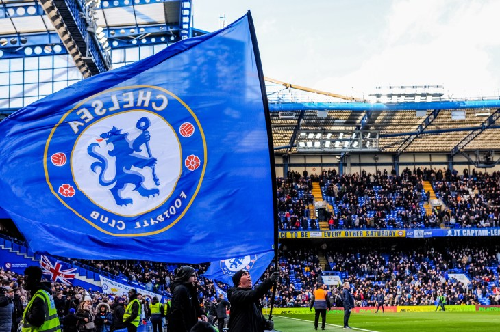 London, UK - March 10 2019: the view of Stamford bridge with big Chelsea flag during the match of Premier League between Chelsea - Wolverhampton Wanderers, Stamford Bridge stadium.