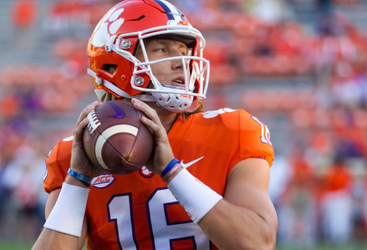 Trevor Lawrence #16 - Clemson Tigers host Georgia Tech Yellow Jackets on Thursday 8-29-19 at Clemson Memorial Stadium in Clemson South Carolina USA