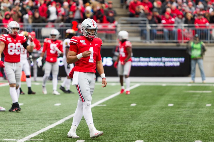 Justin Fields #1 - NCAA Division 1 Football University of Maryland Terrapins Vs. Ohio State Buckeyes on November 11th 2019 at the Ohio State Stadium in Columbus, Ohio USA