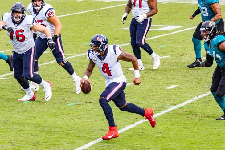 Jacksonville, Florida USA November 8 2020 NFL Houston Texans vs Jacksonville Jaguars Deshaun Watson