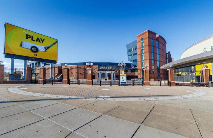 "ANN ARBOR, MI, USA - NOVEMBER 8: Michigan Stadium (""The Big House"") on November 8, 2020 at the University of Michigan in Ann Arbor, Michigan."