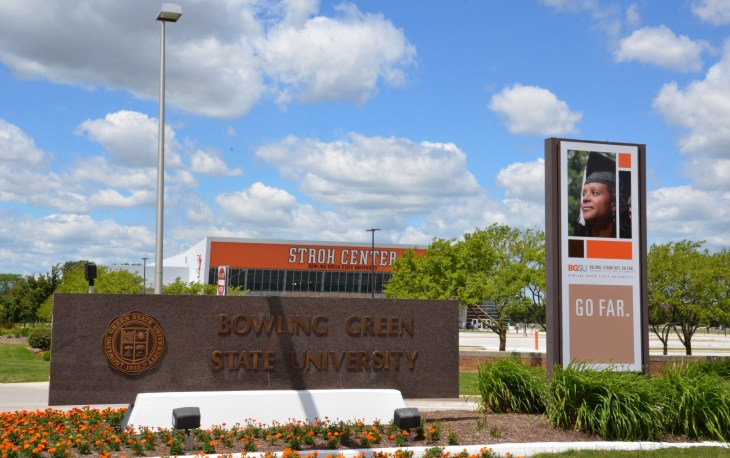 BOWLING GREEN, OH - JUNE 25: The sign next to the Stroh Center arena at Bowling Green State University in Bowling Green, Ohio, is shown on June 25, 2017.