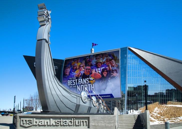 MINNEAPOLIS, MINNESOTA - APRIL 27, 2017: Super Bowl 52 LII Feb, 4, 2018 played at US Bank Stadium. Home of the Minnesota Vikings NFL Football Team.