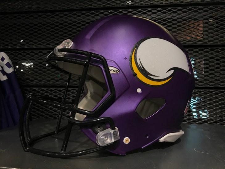Bloomington, MN/USA. December 1st, 2018. A Minnesota Vikings helmet on a display during the football season in Minnesota.