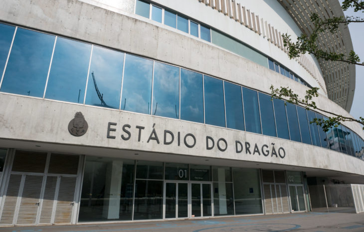 Porto, Portugal - July 13 2019: Dragon Stadium, home football ground of Porto FC with sky reflected in glass