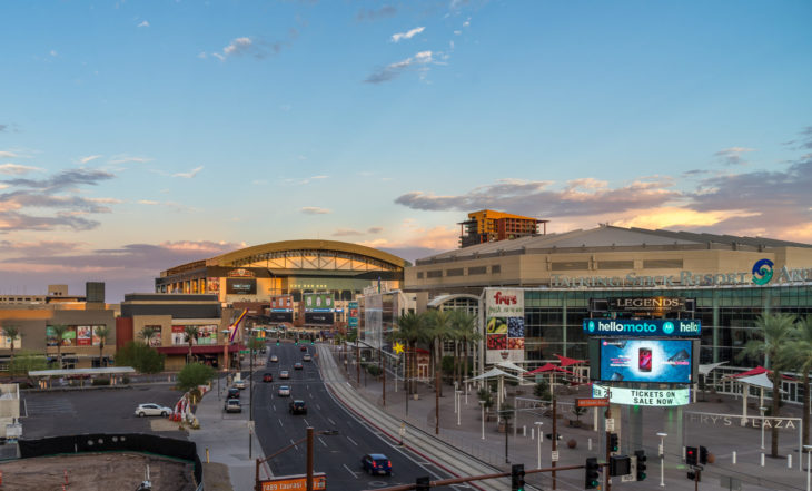Phoenix Arizona USA - AUG 28, 2017. View of US Airways Center and Chase Field. Chase Field is the home of the Arizona Diamondbacks