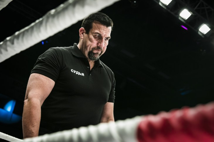 Chelyabinsk, Russia - December 5, 2015: referee John McCarthy in ring closeup during Cup of Russia MMA