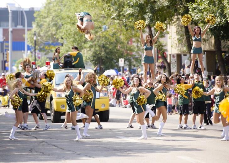 EDMONTON, AB, CANADA-July 18, 2014: Edmonton Eskimo cheerleaders as seen in the K-Days Parade on July 18th, 2014.