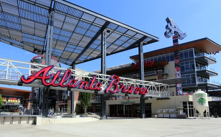 ATLANTA - MAY 10: An entrance to Suntrust Park in Atlanta, Georgia on May 10, 2017. Suntrust Park is a ballpark and the home field of Major League Baseball's Atlanta Braves.