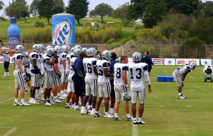 The Dallas Cowboys at their 2008 summer training camp in Oxnard, CA during a training session working out.