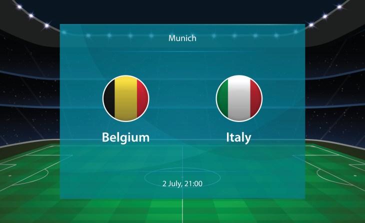 Belgium vs Italy football scoreboard. Broadcast graphic soccer template