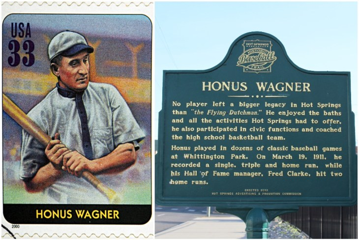 GRANADA, SPAIN - DECEMBER 1, 2015: A stamp printed in USA dedicated to Legends of Baseball shows Honus Wagner, 2000