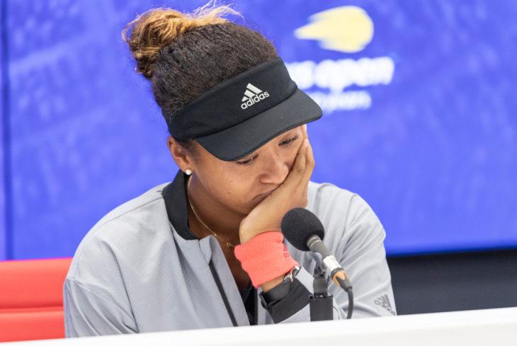 New York, NY - September 8, 2018: Naomi Osaka of Japan attends press conference after winning women's single final of US Open 2018 at USTA Billie Jean King National Tennis Center