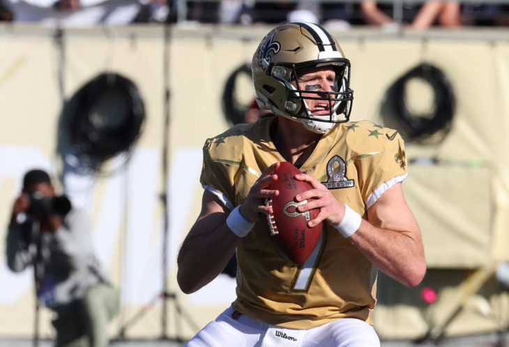 Jan 26, 2020; Orlando, FL USA; NFC quarterback Drew Brees of the New Orleans Saints in the pocket during the Pro Bowl at Camping World Stadium in Orlando, Fla. (Steve Jacobson/Image of Sport)