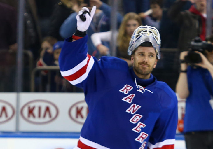 NEW YORK-APR 27: New York Rangers goalie Henrik Lundqvist (30) receives the third star of the game award against the New Jersey Devils at Madison Square Garden on April 27, 2013 in New York City.