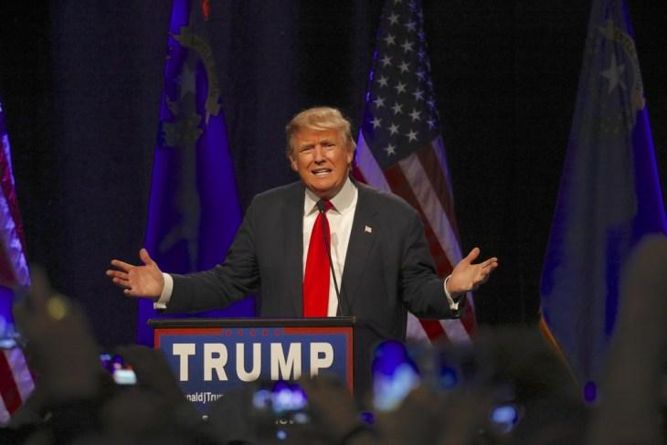 LAS VEGAS NEVADA, DECEMBER 14, 2015: Republican presidential candidate Donald Trump speaks at campaign event at Westgate Las Vegas Resort & Casino the day before the CNN Republican Presidential Debate