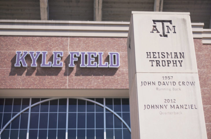 College Station, Texas - June 12 2019: Texas A&M Kyle Field and Heisman Trophy monument
