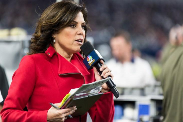 Arlington, Texas / USA - November 8, 2015: NBC Sports Reporter Michele Tafoya at AT&T Stadium in Arlington, TX