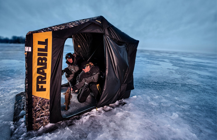 Frabill fishouflage ambush dlx ice shelter busted wallet for Gander mountain ice fishing