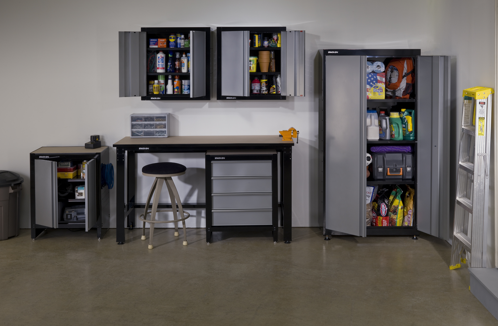 This Six Piece Organizational System From Stack On Is Ideal For Larger  Garages With Space For A Work Bench, Large Locker Cabinet, Two Wall Cabinets  And Two ...