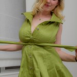 Mim Turner Cosmid Green Dress Busty Blonde Natural Tits Curvy Topless Strip