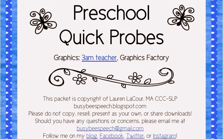 Preschool Quick Probes FREEBIE