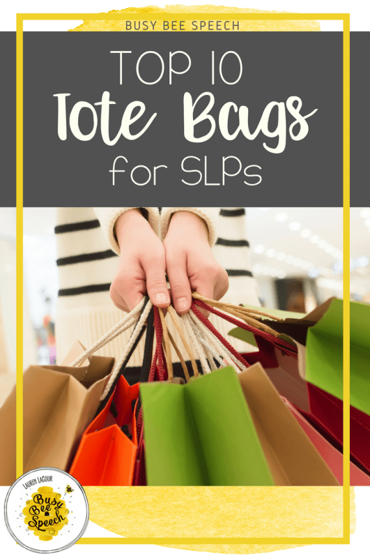 Need a great SLP tote bag?  This post is a round up of some great bags that will keep your speech therapy materials and supplies happy.