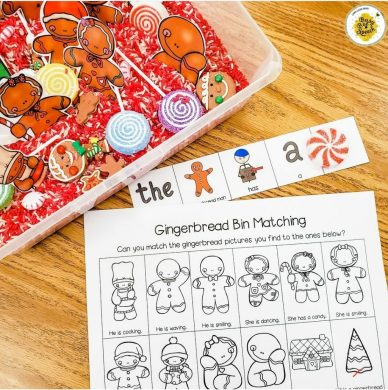 Gingerbread speech therapy sensory bin