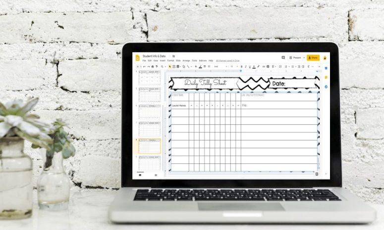 speech therapy planner data sheet