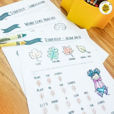 themed fluency therapy worksheets